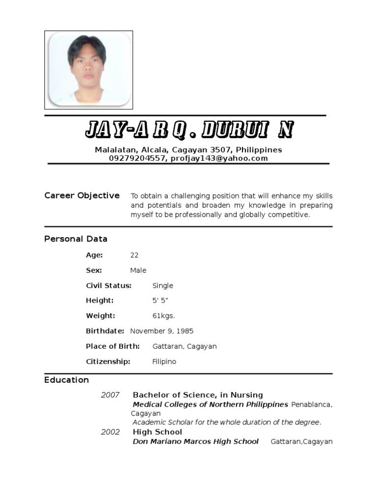 Resume format pdf philippines altavistaventures Images