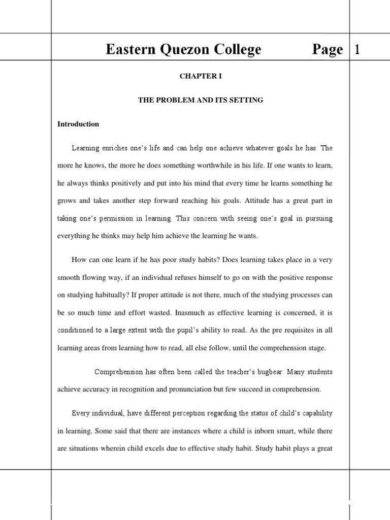 reading comprehension thesis introduction The effect of teaching reading comprehension comprehension introduction improve the students' both reading rate and reading comprehension.