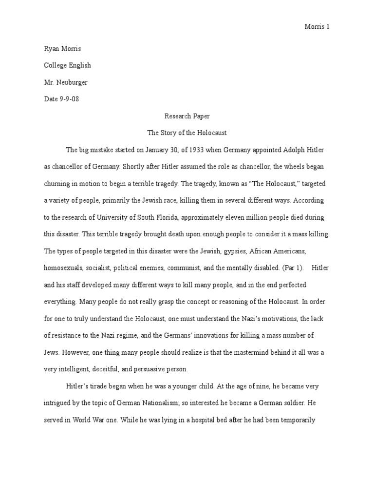 outline for a research paper on the holocaust