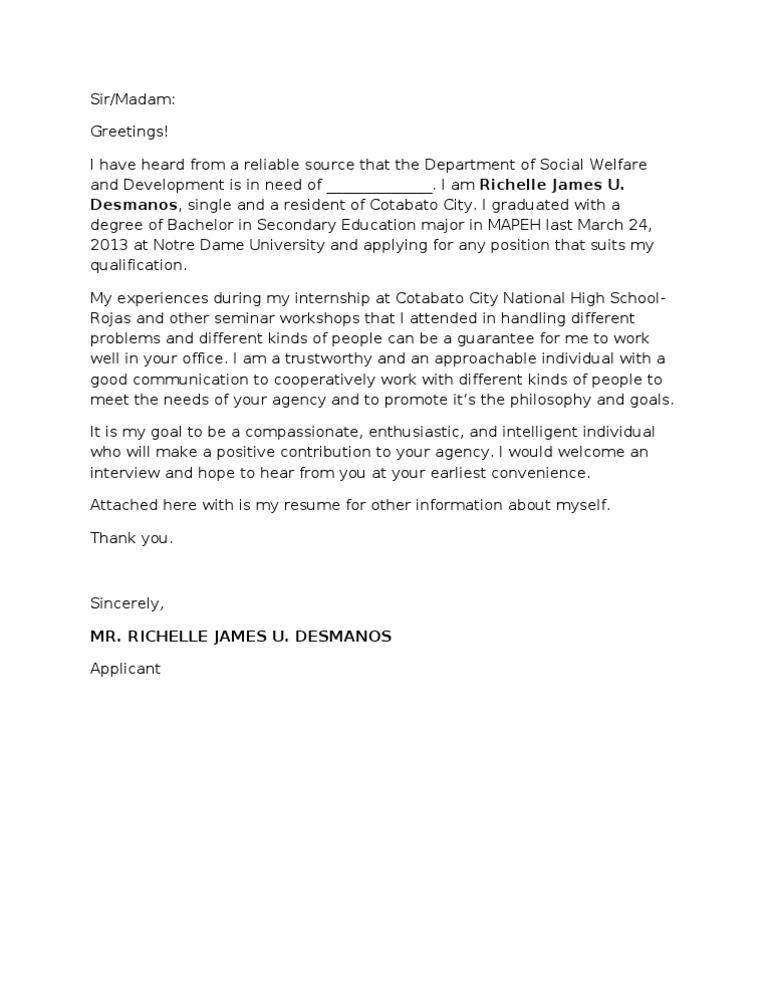 Job Application Letter Sample For Fresh Graduate Doc