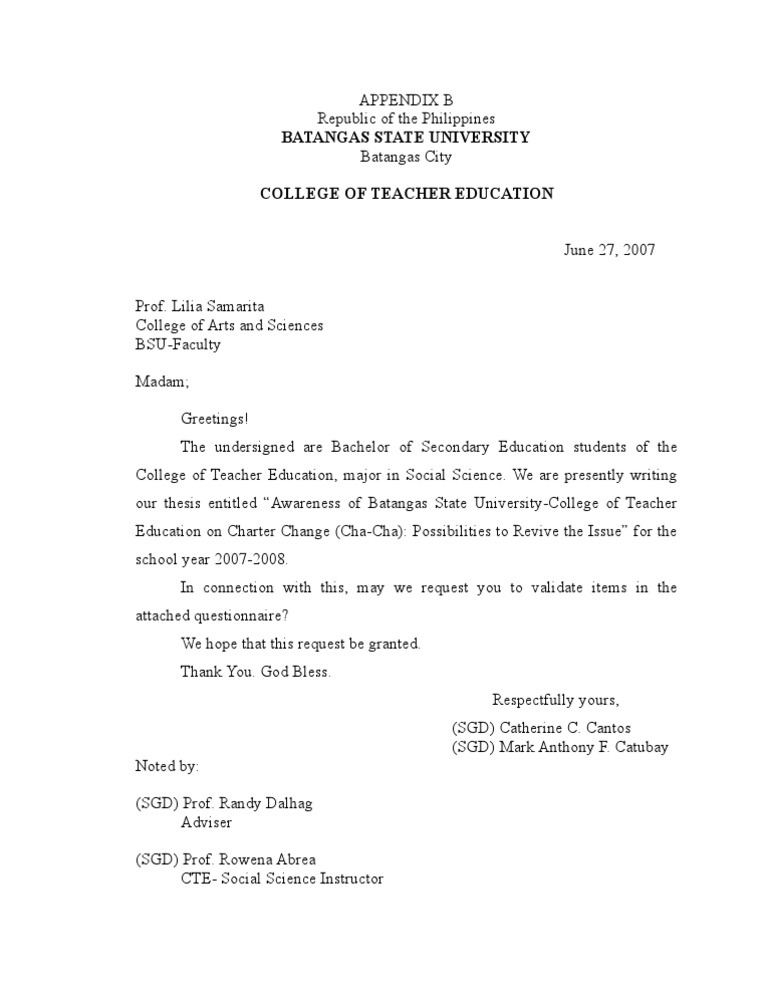Questionnaire cover letter dissertation