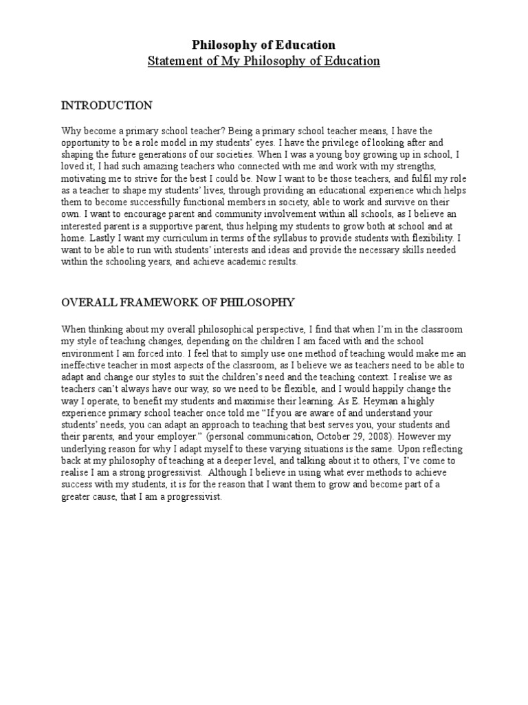 My Philosophy of Education Essays - ManyEssayscom