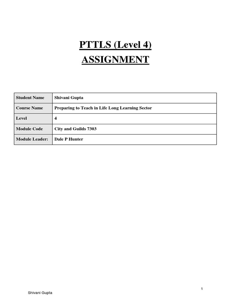 pttls assignments Each assignment will be divided into different levels considering the case of ptlls assignment 1, the same is divided into levels 3 and 4.