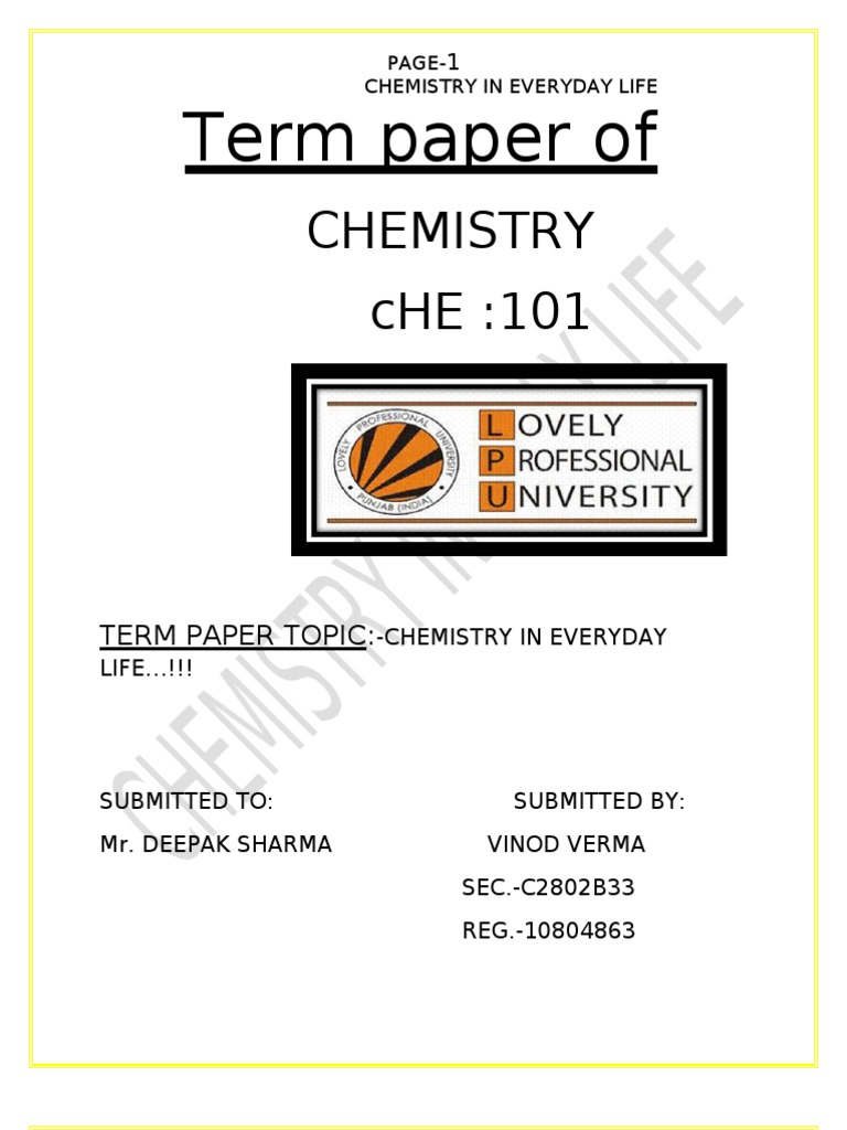 chemistry everyday life essay Knowledge of chemistry is indispensable for the essay on importance of chemistry the value of which in relation to the phenomenon of life is full of.