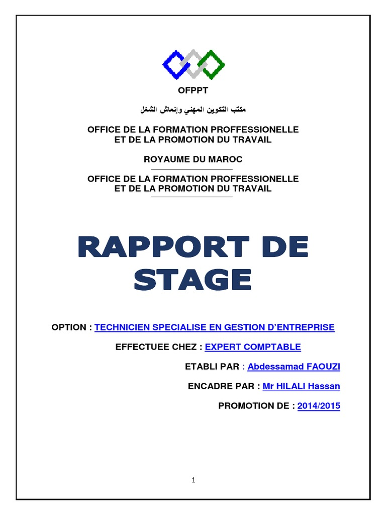 Exemple rapport de stage ofppt document online