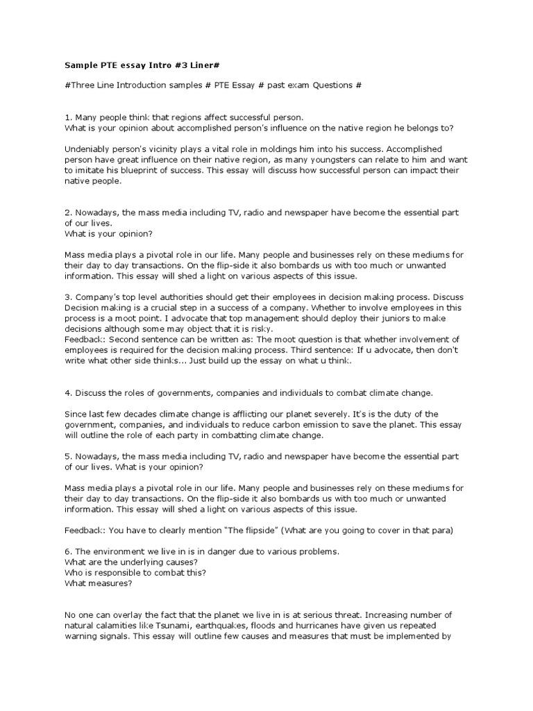 a sample of an essay