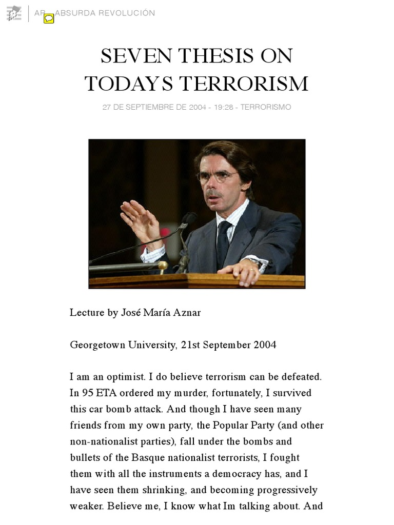 thesis on terrorism and counterterrorism Terrorism policy tim berger cja 464 november 11 terrorism and counterterrorism in the united states on september 11th popular essays.