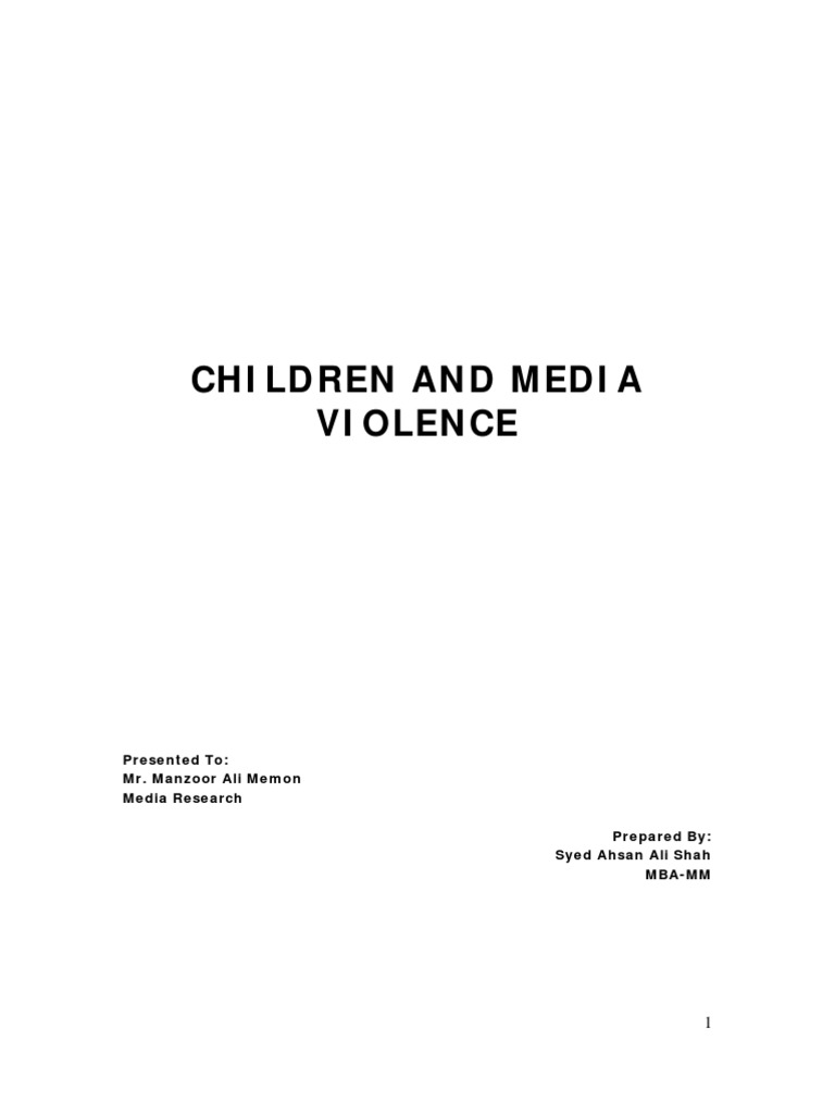 research paper media violence and children