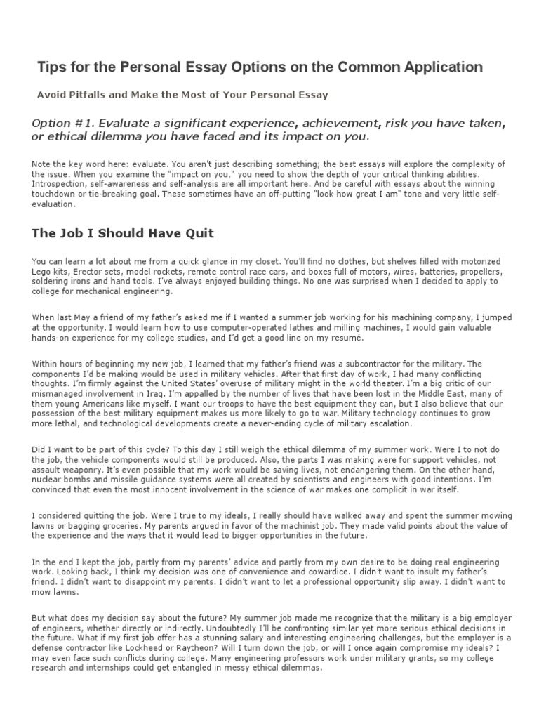 Write my personal experience essay example
