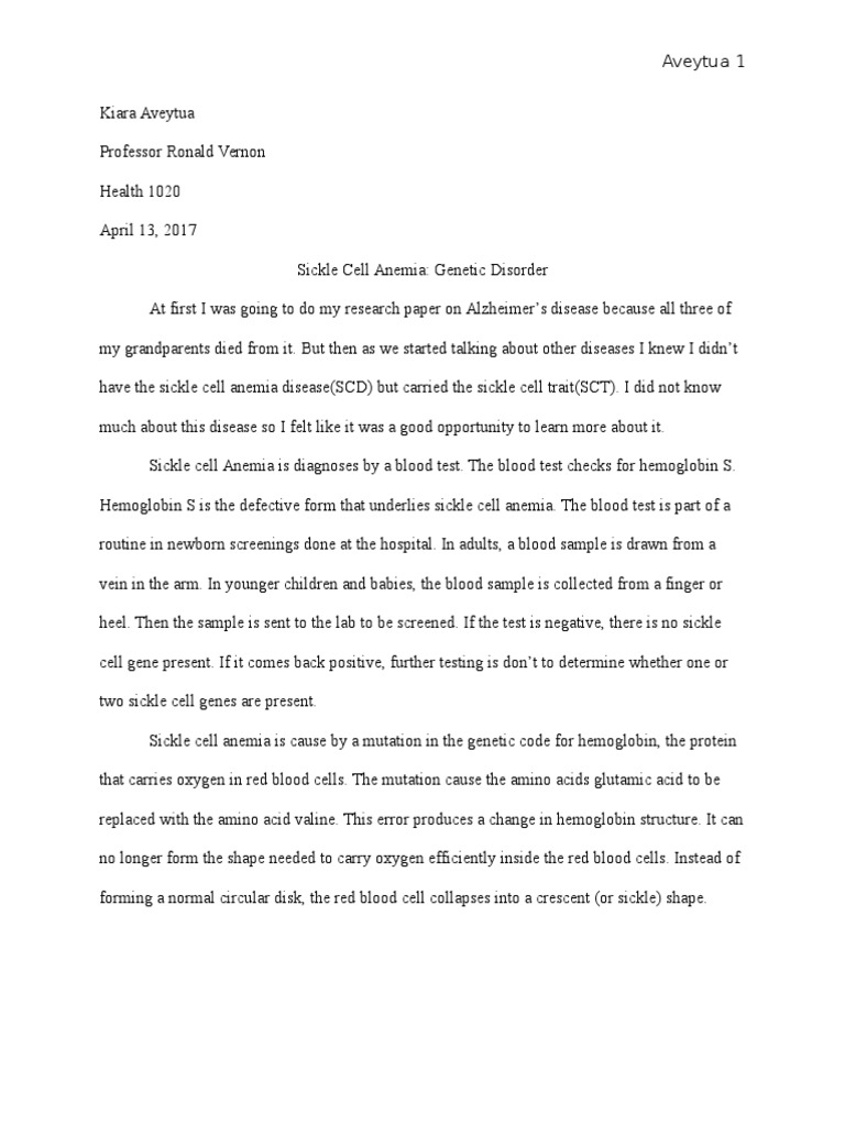 Write my essay on sickle cell anemia