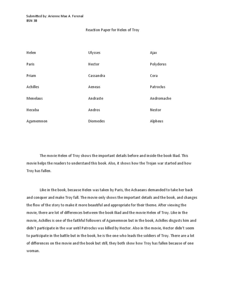 reaction paper about the movie helen of troy essay