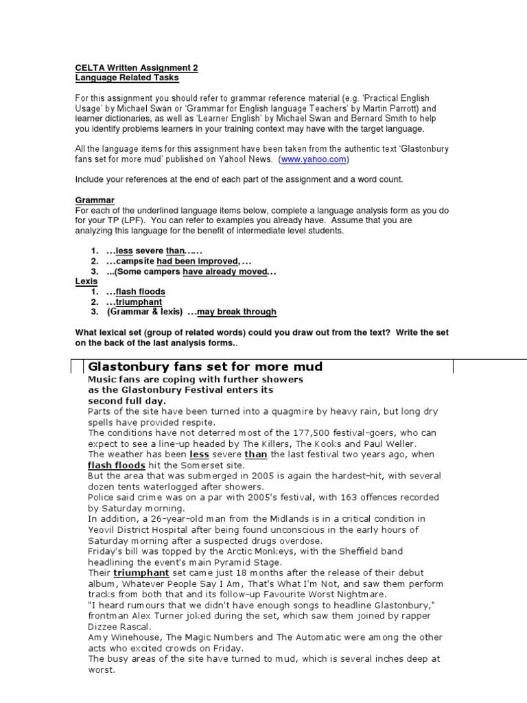 celta assignement 1 essay