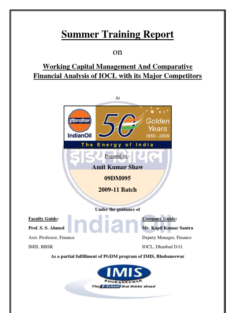 project report on working capital of indian oil corporation