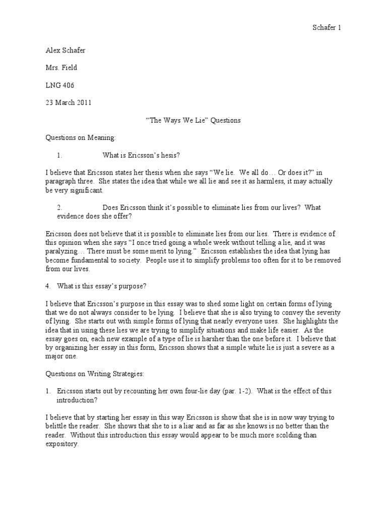 The ways we lie essay order custom essay