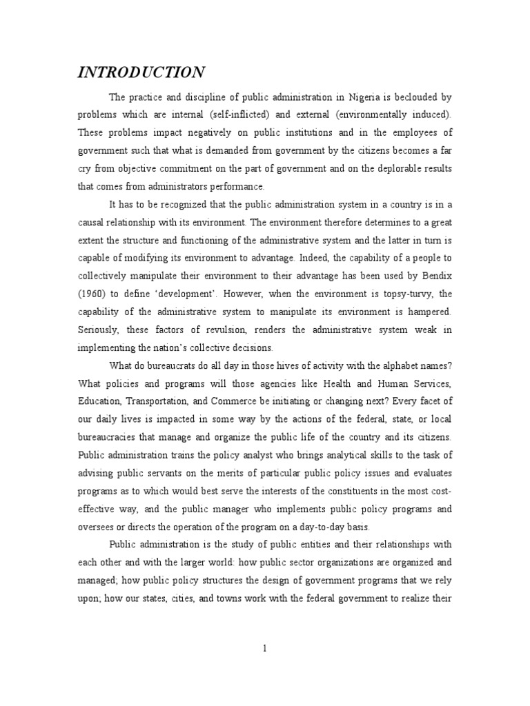 Thesis Topics On Public Administration Free Essays