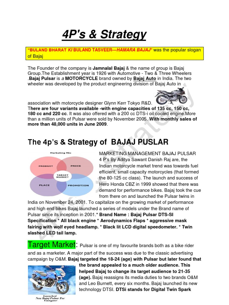 marketing mix of bajaj auto essays Article of marketing strategies of bajaj auto we will write a custom essay sample on article of marketing strategies of bajaj huntehunter boot marketing mix.