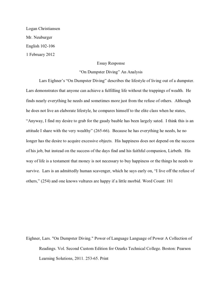 on dumpster diving essay Free dumpster diving papers, essays, and research papers.