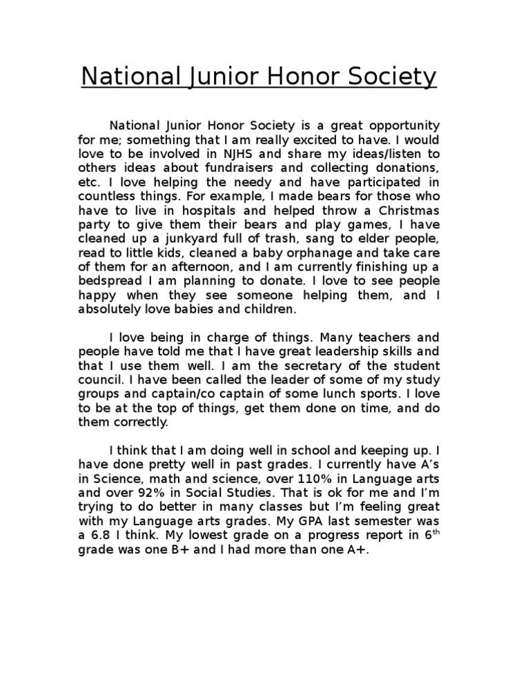 National Honor Society Application Essay Example 27.05.2017