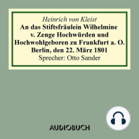 An das Stiftsfräulein Wilhelmine v. Zenge Hochwürden und Hochwohlgeboren zu Frankfurt a. O. Berlin, den 22. März 1801 (gekürzt)