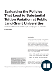 Evaluating the Policies That Lead to SubstantialTuition Variation at Public Land-Grant Universities