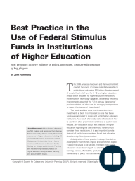 Best Practice in the Use of Federal StimulusFunds in Institutions of Higher Education