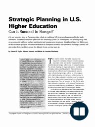 Strategic Planning in U.S. Higher Education