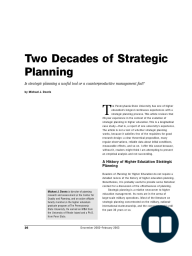 Two Decades of Strategic Planning