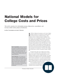 National Model for College Costs and Prices