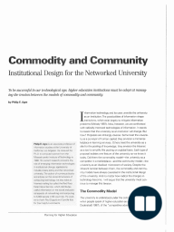 Commodity and Community