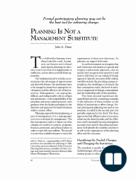 Planning is Not a Management Substitute
