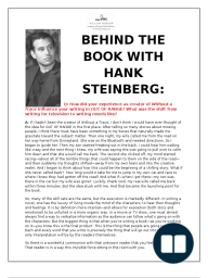 Behind the Book Q&A with Hank Steinberg