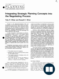 Integrating Strategic Planning Concepts into the Negotiating Process
