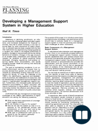Developing a Management Support System in Higher Education