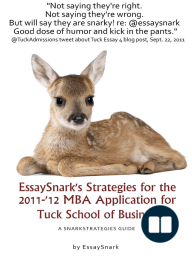 EssaySnark's Strategies for the 2011-'12 MBA Admissions Essays for Tuck School of Business
