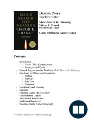 A teachers' guide for Viktor Frankl's Man's Search for Meaning