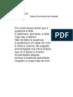 ausência - Carlos Drummond de Andrade