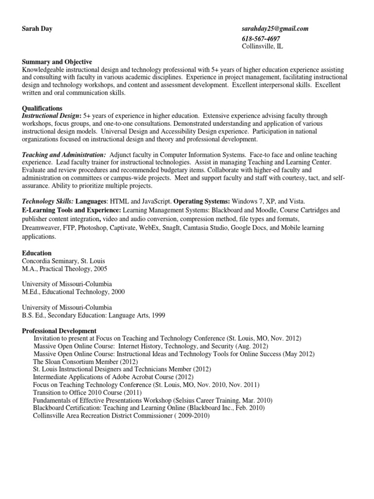 Day Resume Simple Educational Technology Instructional Design