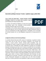 3C Etudes - Communiqué baromètre politique Tunisie, 7è vague - juillet 2012
