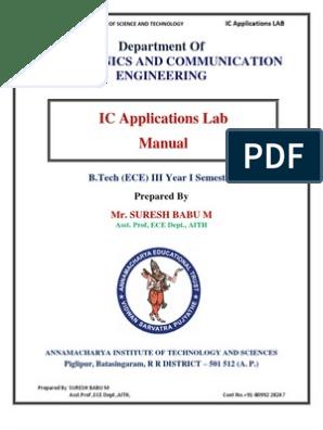 IC Lab Manual by Suresh Babu | Operational Amplifier | Amplifier