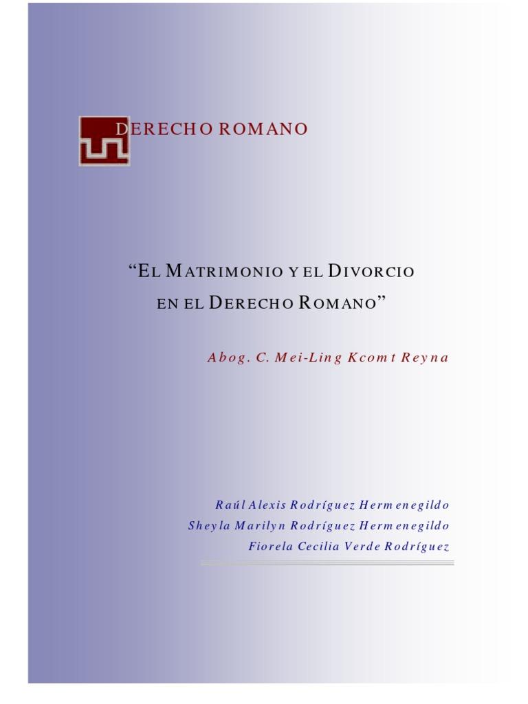 Matrimonio En El Derecho Romano Utpl : Matrimonio y divorcio en el derecho romano todo