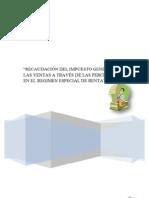Recaudacion Del IGV a Travez de Las Percepciones en El Regimen Especial de Renta