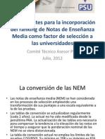 Ranking NEM para Reunión. CTA. Julio 2013.