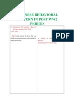 Japanese Behavioral Pettern in Post Ww2 Period