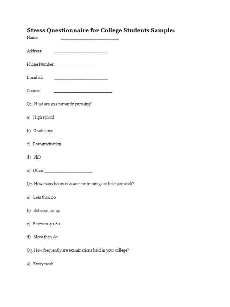sample questionairre