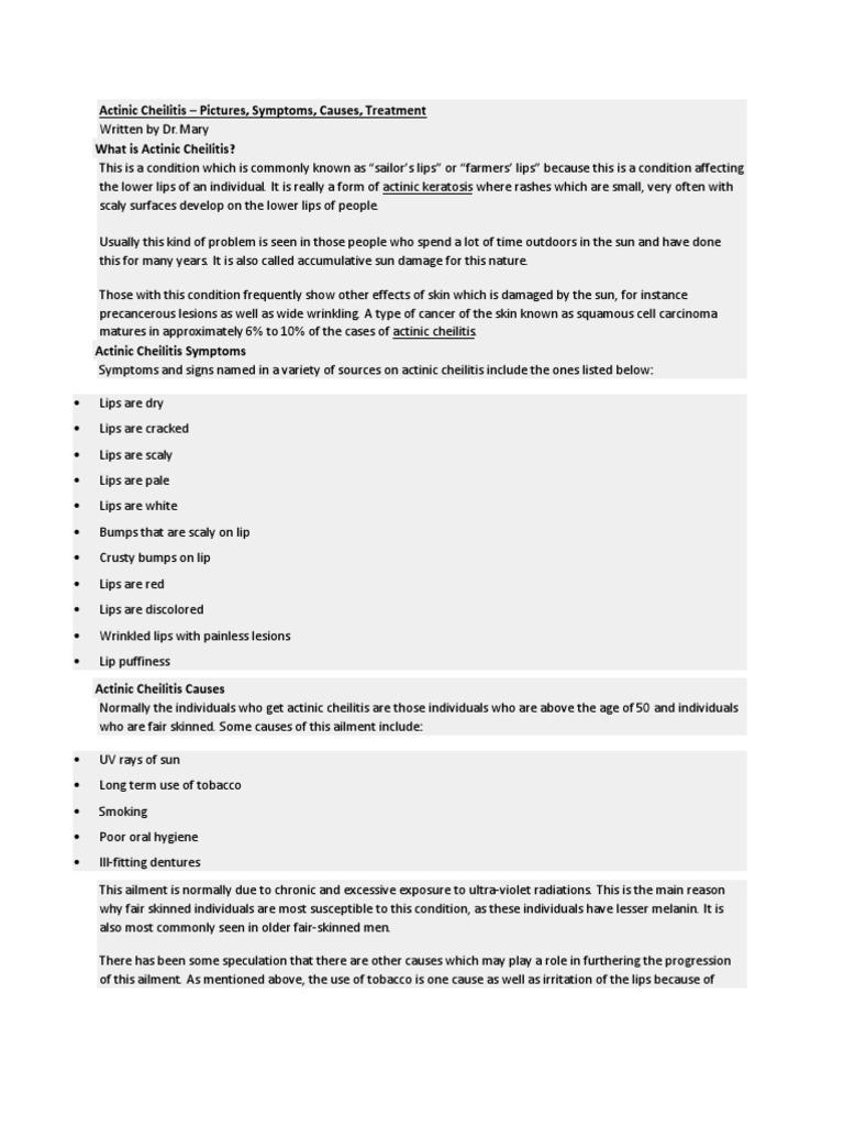 Actinic Cheilitis | Candidiasis | Herpes Simplex