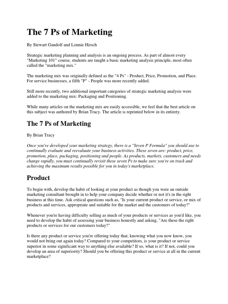 The 7 Ps of Marketing | Sales | Redes sociais