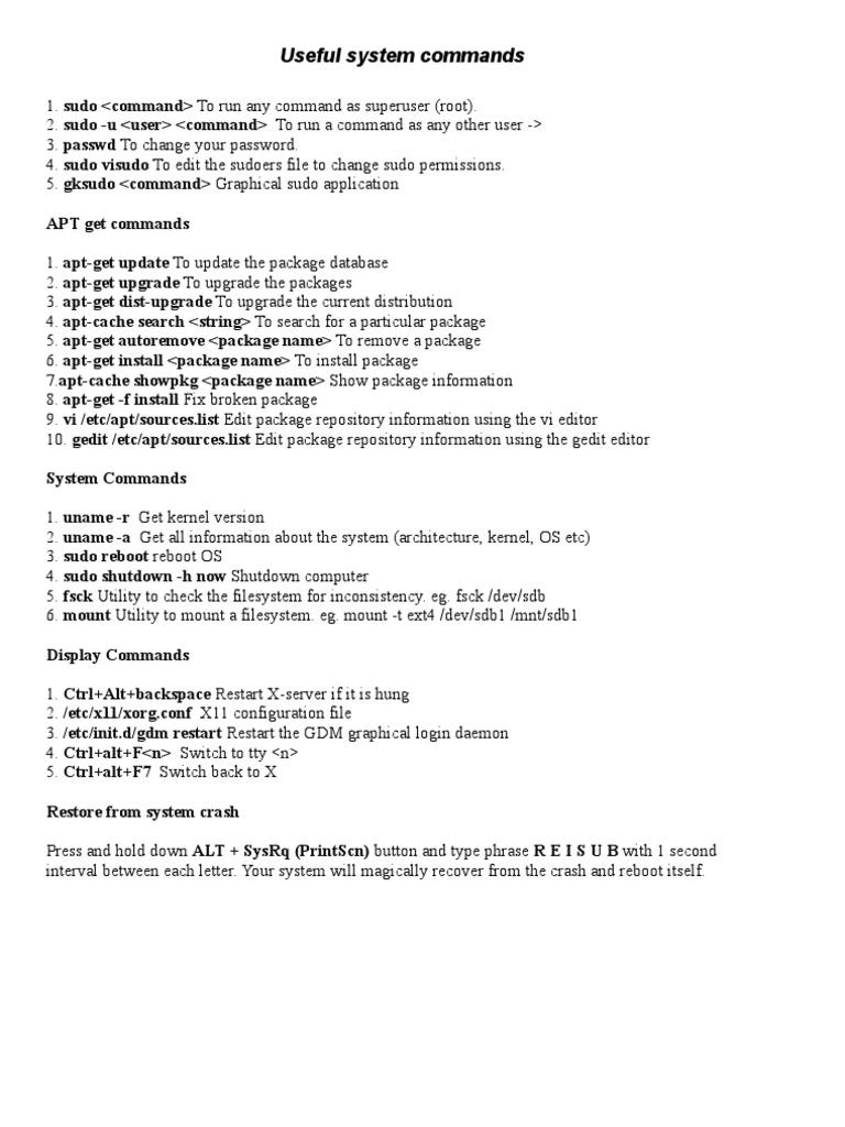Ubuntu Commands pdf