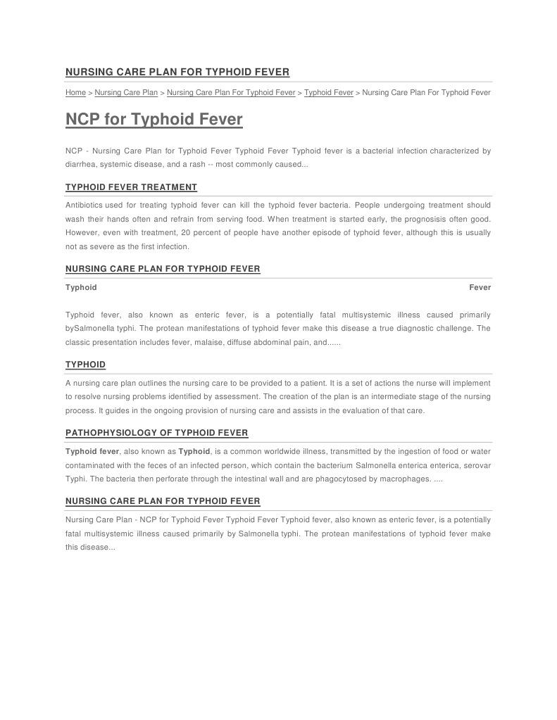 Nursing Care Plan for Typhoid Fever