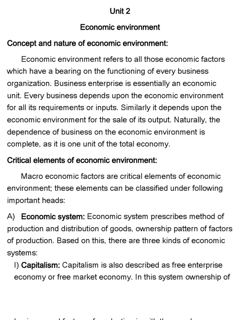 what is economic environment how is it important for business