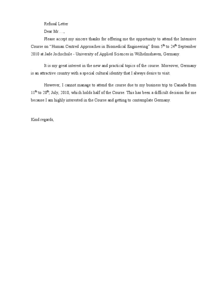 Refusal Letter for Not Attending an Conference – Refusal Letter